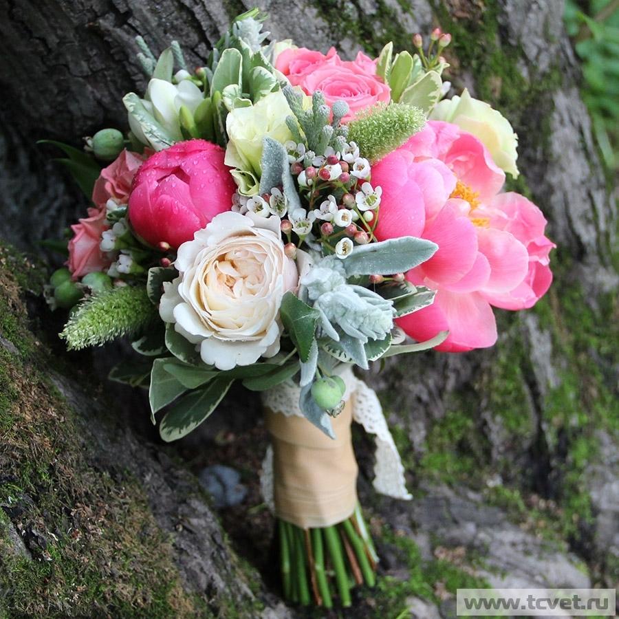 Свадебный букет Анна с пионами