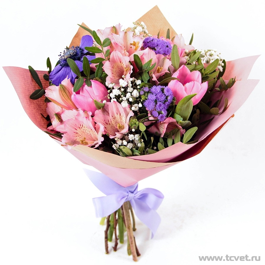 Букет Праздник весенний, розово-фиолетовый
