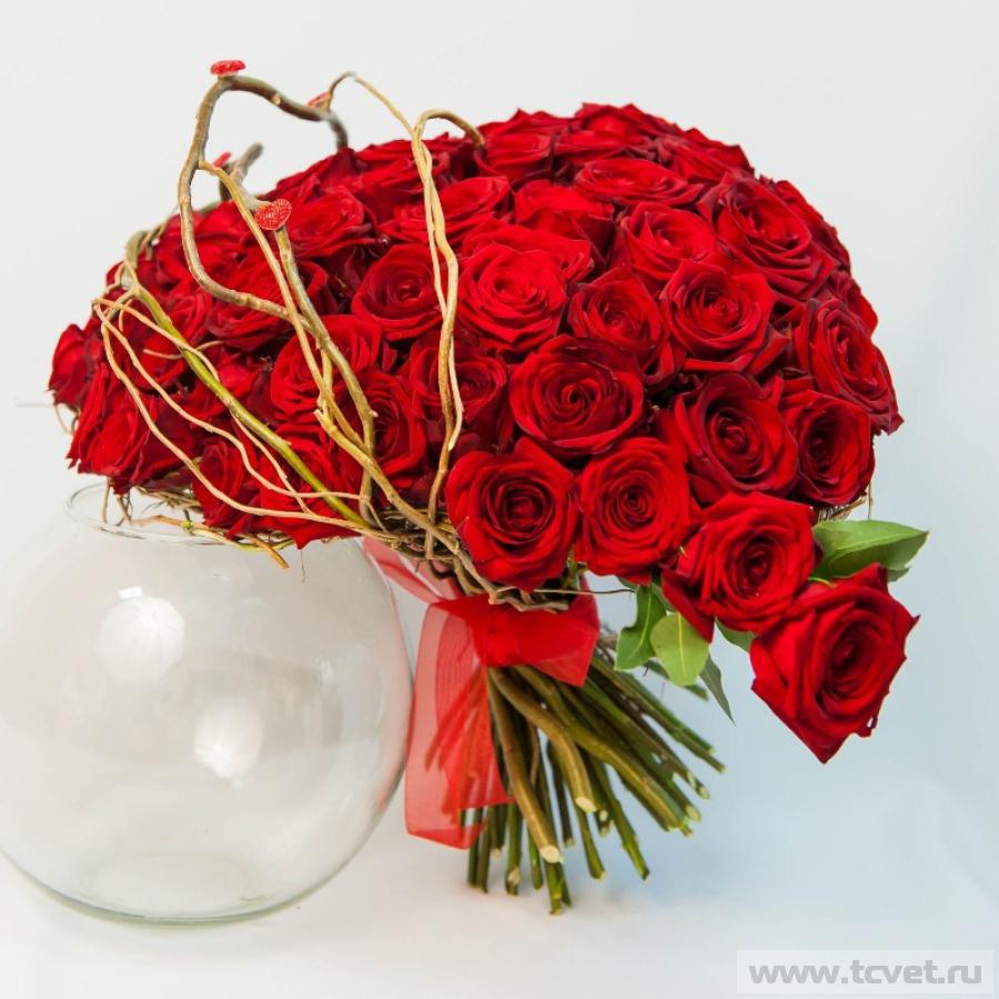 Букет Любящее сердце из 59 роз