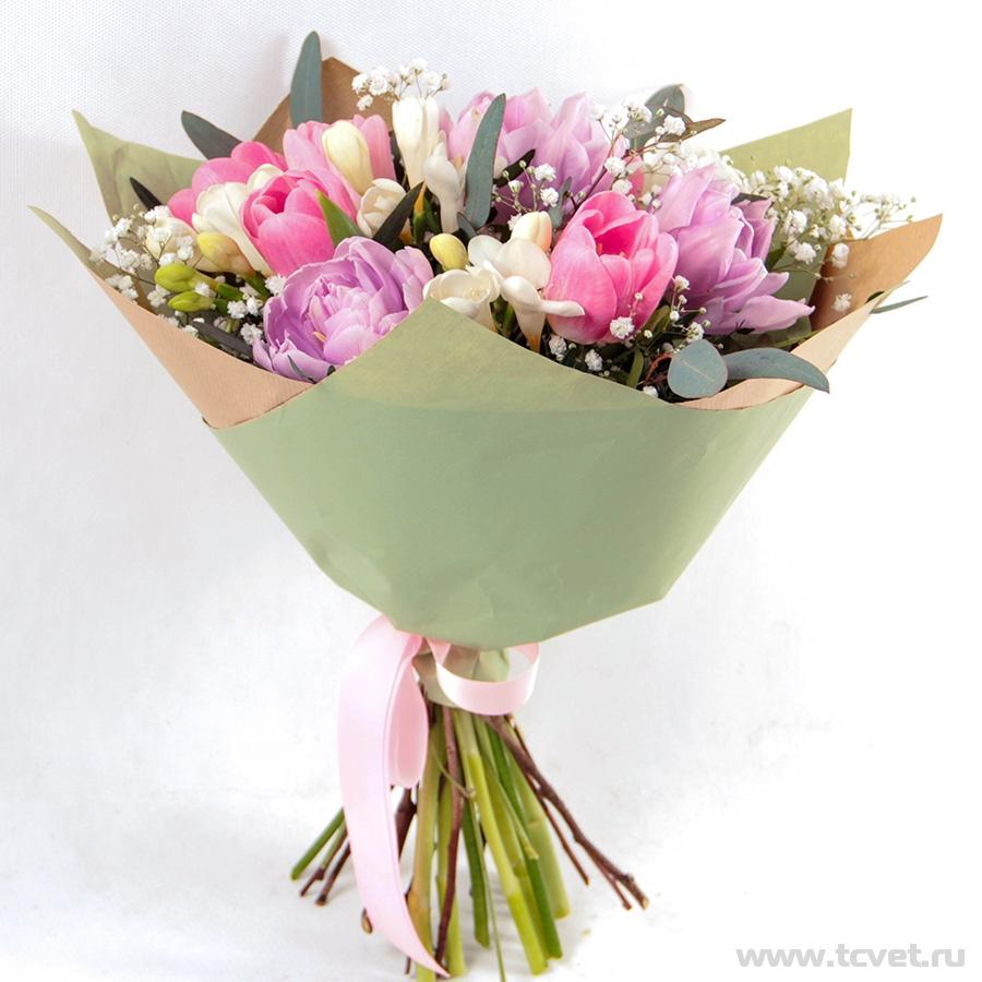 Букет Праздник весенний, бело-розовый