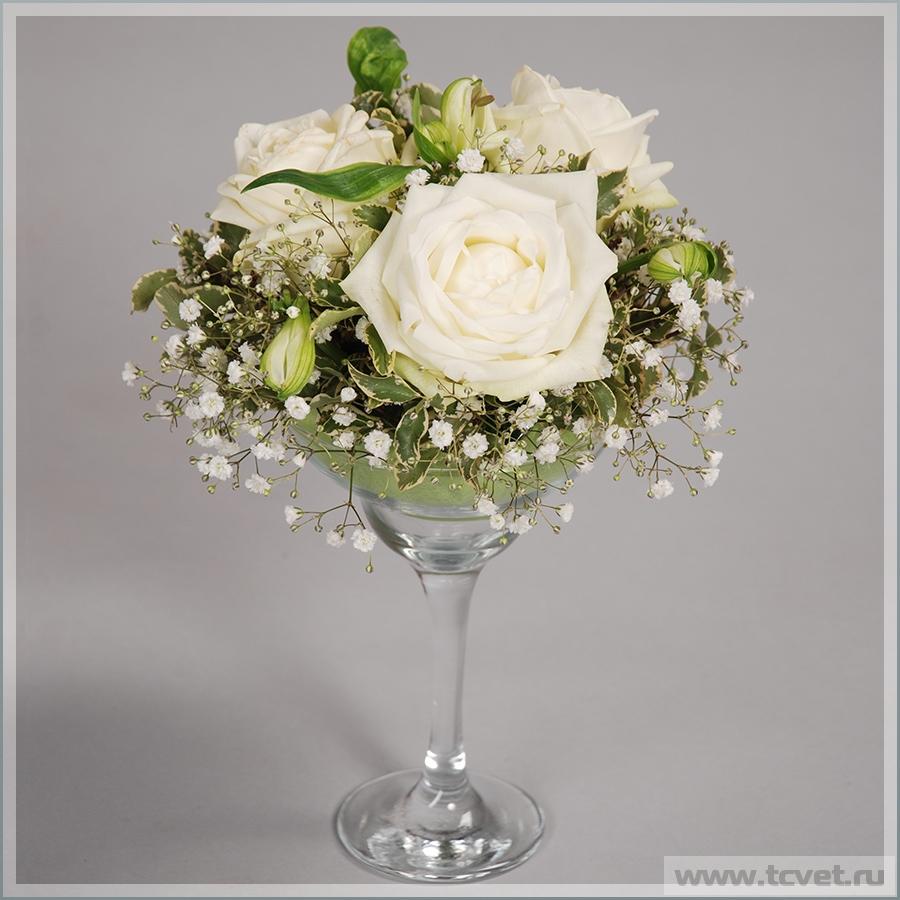 Цветы в мартинке на свадебный стол Белое Золото
