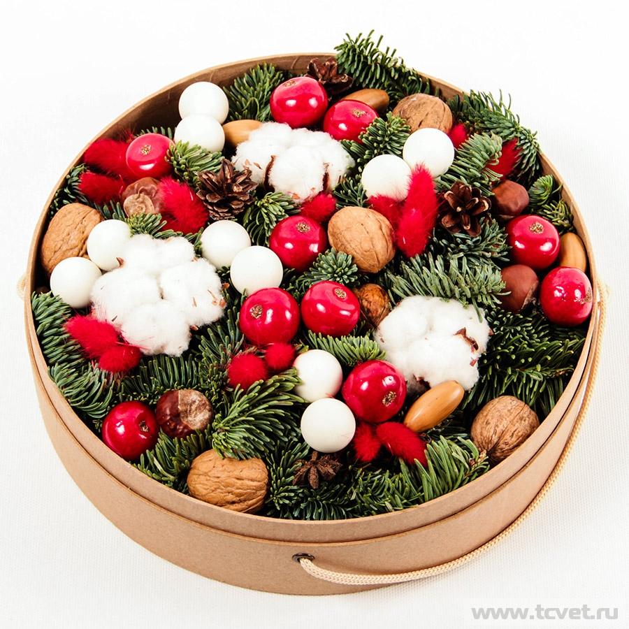 Коробка круглая Снегири М