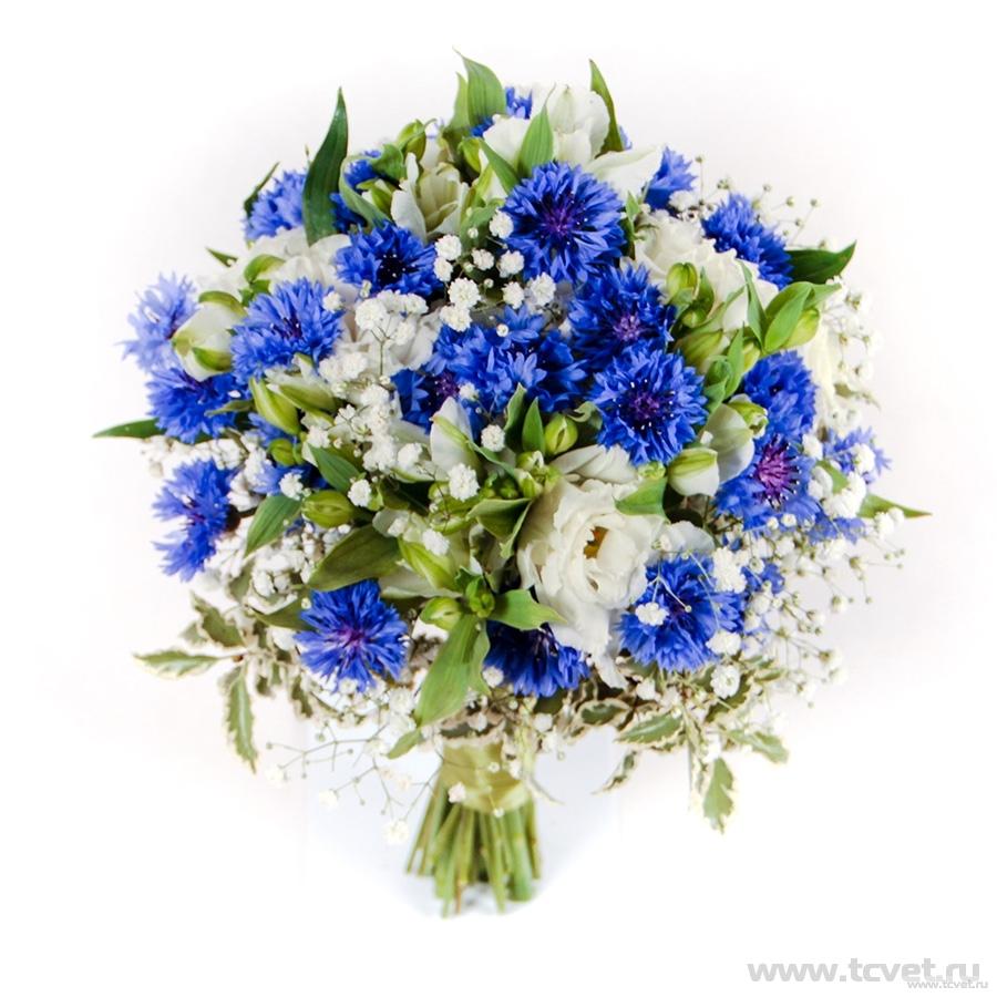 Васильковое счастье букет невесты
