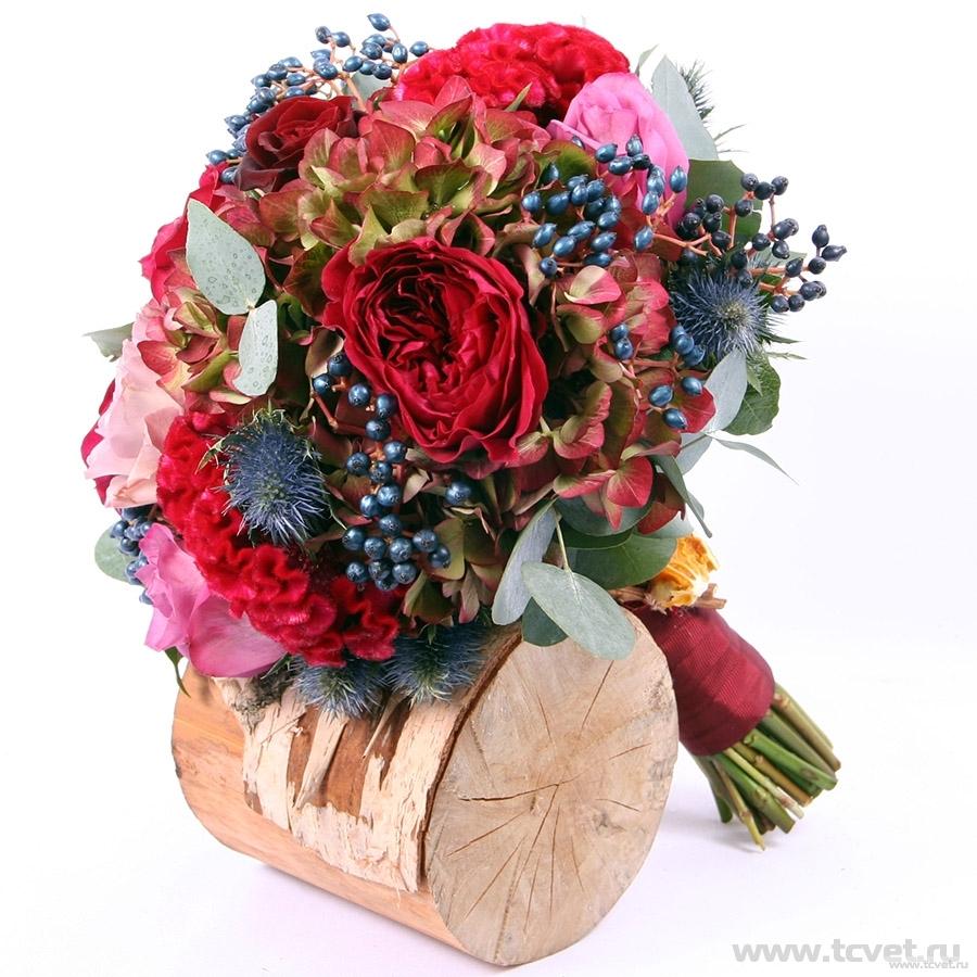 Букет невесты Глинтвейн с розой Tess