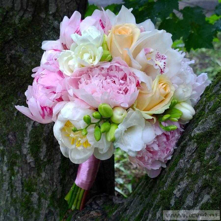 Свадебный букет из пионов Розовый пион