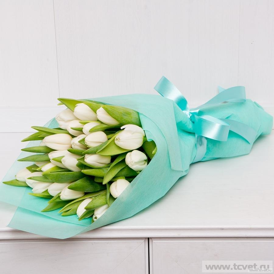 Букет Тюльпаны 25 шт. в фетре Бирюза