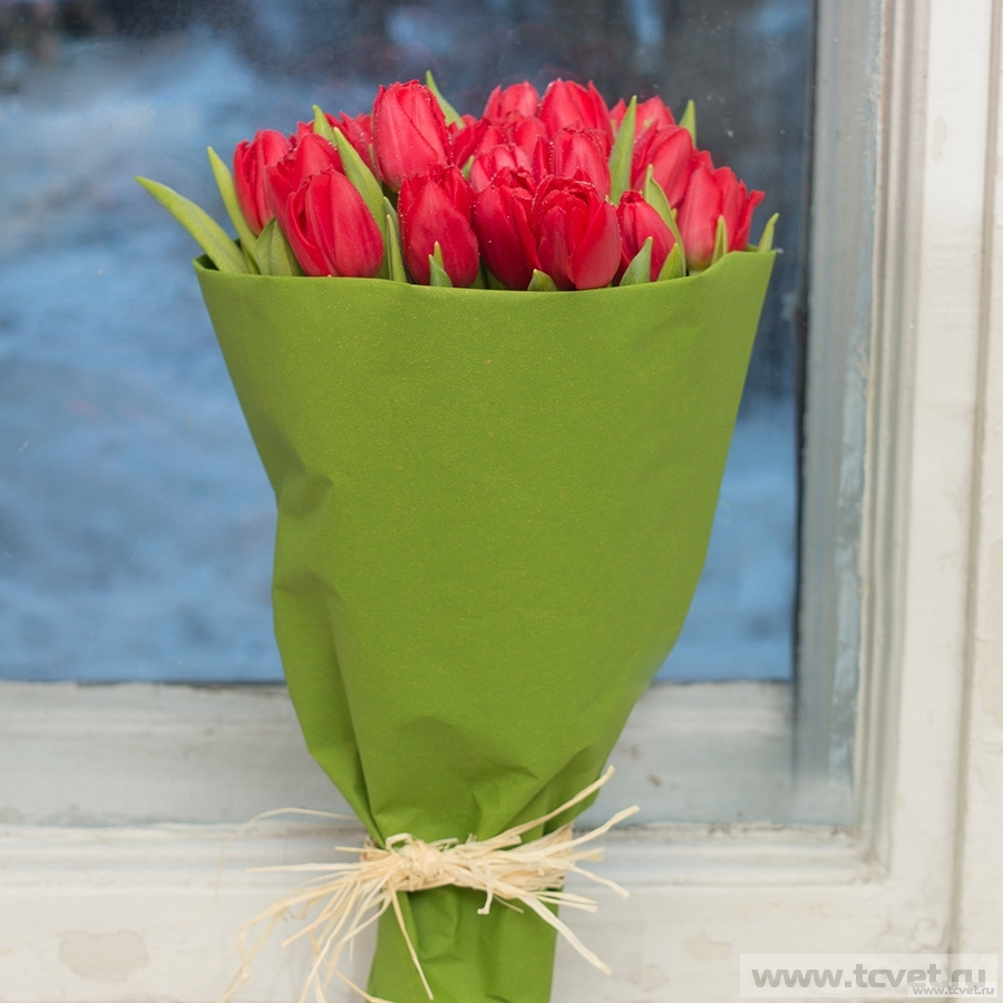 Европейский подарок 25 тюльпанов