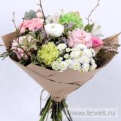 Букет Праздник бело-розовый