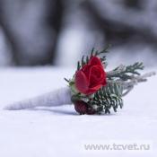 Бутоньерка жениха Морозное утро