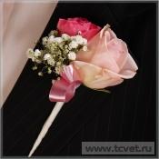 Бутоньерка жениха Розовый жемчуг