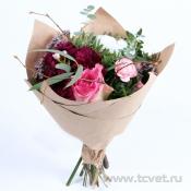 Крошка букет в крафте розово-фиолетовый