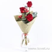 Лучик букет с красными розами
