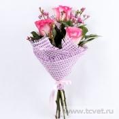 Лучик букет с розовыми розами