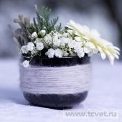 Первый снег в стеклянной вазочке