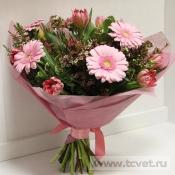Букет Розовый с гермини