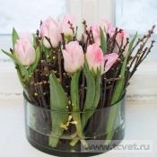 Композиция в стеклянной вазе Пробуждение весны
