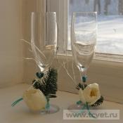 Украшение бокала Белый тюльпан