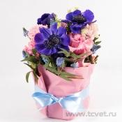 Весенняя улыбка розово-синяя