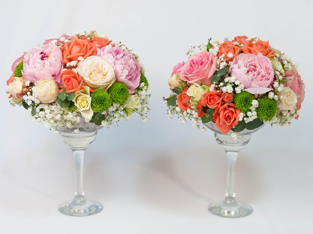 Композиции из цветов в мартинницах