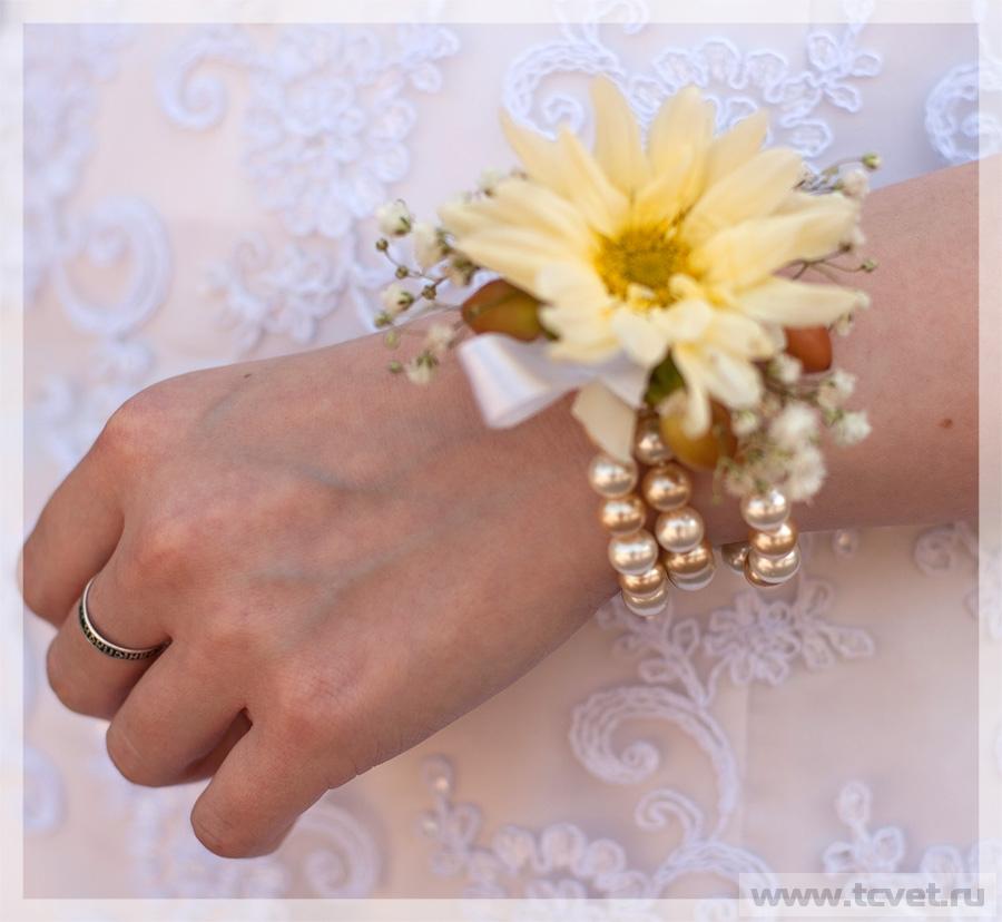 Браслет на руку из живых цветов как сделать