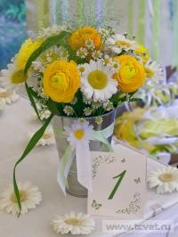 Ромашковая свадьба. Ромашковый букет для молодых
