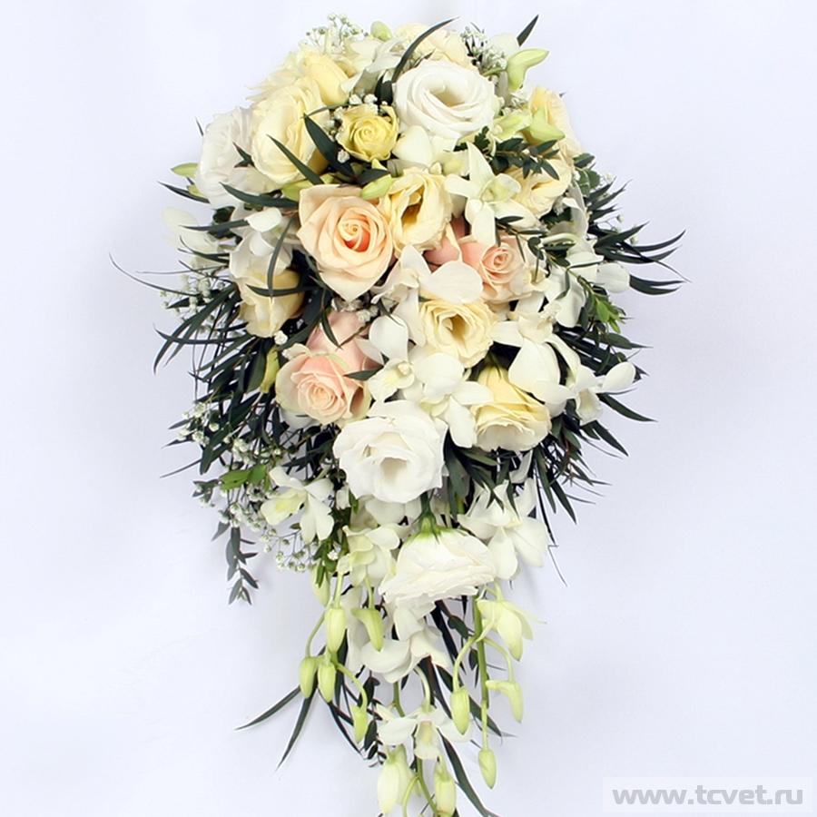 Каскадный свадебный букет Золушка