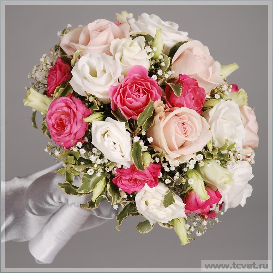 Свадебный букет невесты Розовый жемчуг из светло-розовых роз