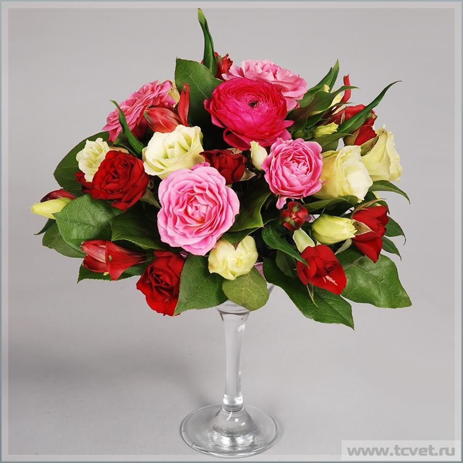 Мартинница с цветами для свадебного стола Пурпурная Серенада