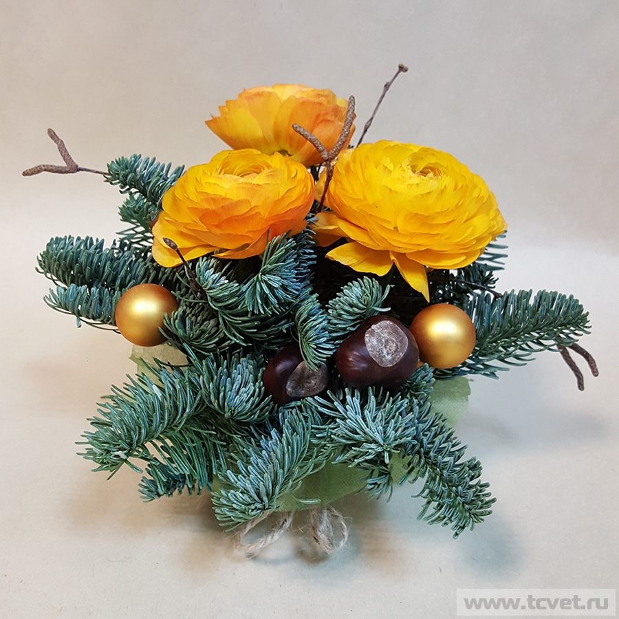 Новогодний подарочек с цветами