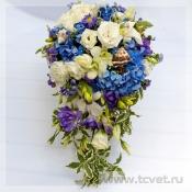 Каскадный букет невесты Аквамариновые берега