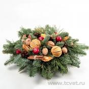 Круглая новогодняя композиция на стол Глинтвейн