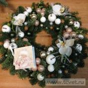 Венок рождественский бело-розовый