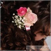 Заколка из цветов Розовый Жемчуг