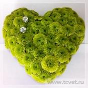 Подушечка для колец Зеленое сердце